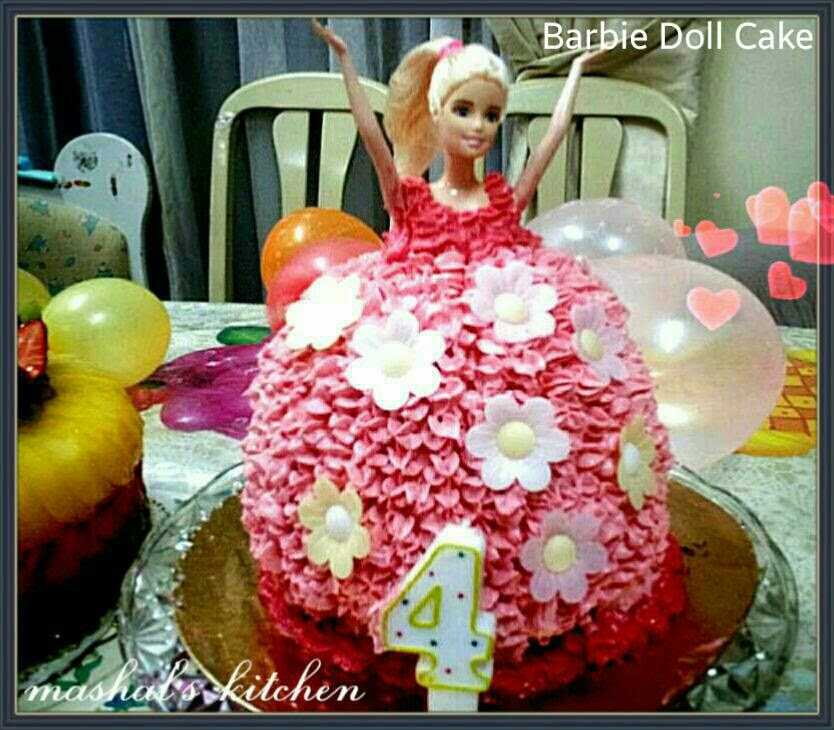 Fine Barbie Doll Birthday Cake For My Daughter Mashal S Kitchen Birthday Cards Printable Opercafe Filternl